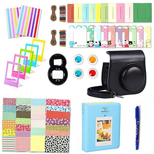 Fujifilm Instax Mini 8 Zubehör, Leebotree 10 in 1 Kamerapaket beinhaltet Kameratasche/Album/Selfielinse/Farbige Filter/Wandfotorahmen/Filmrahmen/Rahmenaufkleber/Eckaufkleber/Markierstift (Schwarz)