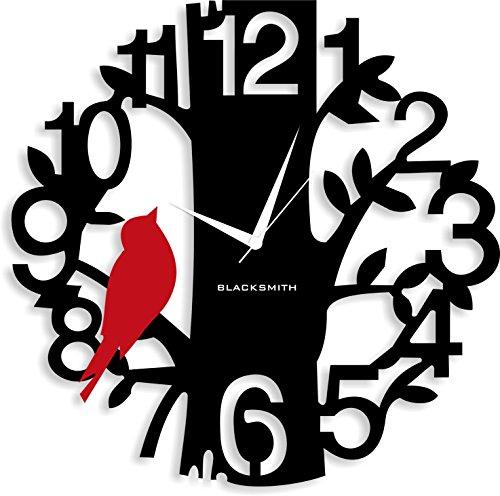 Blacksmith Aluminium Sparrow On Tree Wall Clock (Black and Red)