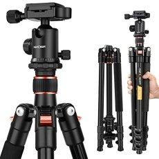 K&F Concept Trípode Completo TM2324 Trípode Flexible 156cm para Cámara Canon Sony Nikon con Rótula de Bola Placa Rápida Liberación Bolsa de Transporte para Vieja y Trabajo, Naranja