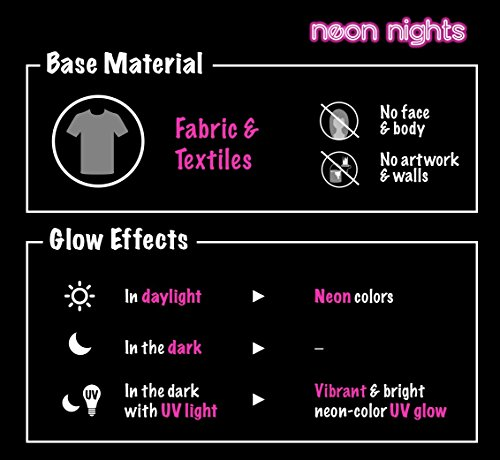neon-nights-Neonfarbe-fr-Kleidung-und-Stoffe-Fluoreszierende-Farben-fr-Glow-Effekt-im-Schwarzlicht-8-x-20ml-UV-Paint-Set