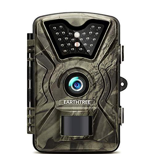 """EARTHTREE Wildkamera, 14MP 1080P Full HD Jagdkamera Low Glow Infrarot 20m Nachtsicht Überwachungskamera 2.4\"""" LCD IP66 Wasserdichte Nachtsichtkamera Wildkamera Fotofalle"""