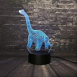 Zycx-light Luz Nocturna/Jurassic Park llevó la luz de la Noche 3D Dinosaurio luz RGB 7 Cambio de Color USB Base Switch Exposición Niño Navidad Niños Regalo Animal Juguete