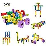 FUNTOK 72 pezzi Tubation Costruzioni. Blocchi di Plastica Giocattoli di puzzle plastica per tubi di costruzione con giocattoli per blocchi