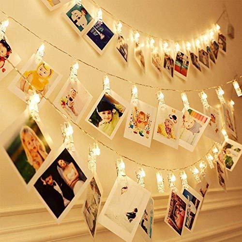 40 LED Foto Clip Stringa Illuminazione, 6m LED Batteria Foto Clips 8 Modalità Luci Decorative...