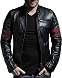 Leather Retail Men's Faux Leather Jacket (Black, Medium)
