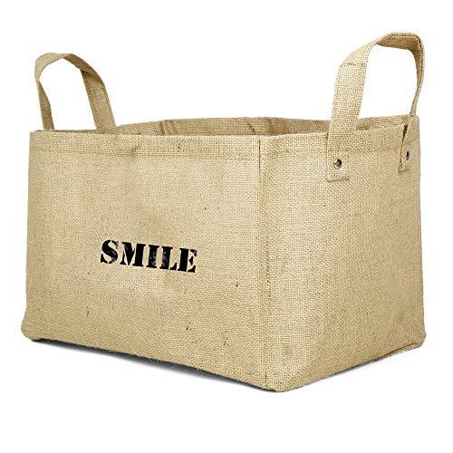 Cestini in Iuta per Bambini, contenitori per Armadio, Giocattoli, cubi Smile