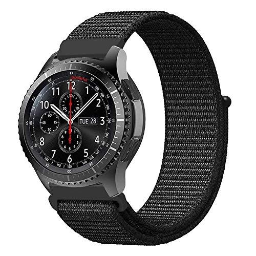 TELLUR Cinturino per Orologio Nylon per Samsung Gear S3 / Orologio 46mm-22mm, Nero