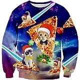 Loveternal Pizza Gato Jersey Navidad 3D Hombre 3D Ugly Christmas Sweater Cat Manga Larga Feo Xmas Pullover XL
