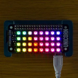 51N1fa27fHL - Unicorn pHAT. Compatible con: Raspberry Pi 3, 2, B+, A+, and Zero.