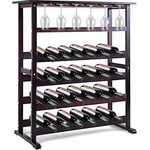 GOPLUS Portabottiglie Cantinetta Scaffale di Vino Portavino in Legno da 24 Bottiglie 80x41x90,5cm