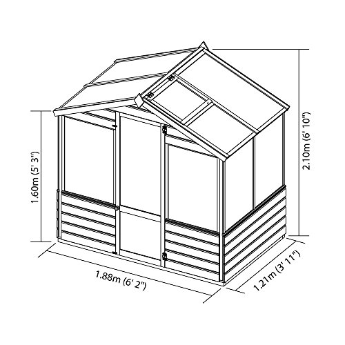 WALTONS EST. 1878 4x6 Wooden Garden Greenhouse, Shiplap Construction, Dip Treated with 10 Year Guarantee, Includes Apex Roof, Single Door, Styrene Windows (4 x 6/4Ft x 6Ft) 3-5 Day Delivery