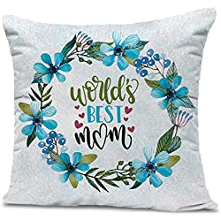 TIED RIBBONS World's Best Mom Printed Cushion(12 Inch X 12 Inch) with Filler Gift for Mother