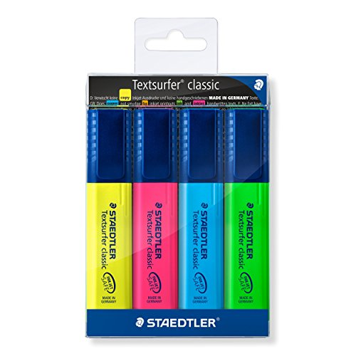 Staedtler Textsurfer Classic 364 WP4 Highlighter Pen - Multicolor Body, Multicolor Ink, Pack Of 4