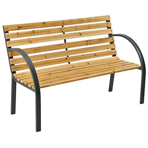ArtLife 2-Sitzer Gartenbank Modena aus lackiertem Holz & Stahl   Rückenlehne + Armlehnen   Sitzbank Holzbank Gartenmöbel