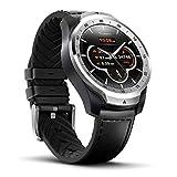 Ticwatch PRO Smartwatch con sensore di frequenza cardiaca (Android Wear, GPS, Wear OS di Google, NFC) Orologio Sportivo Compatibile con Android e iOS Display Multistrato e Cinturino in Pelle, Argento