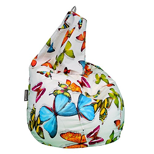 Happers Pera Puff Mariposas XL, Tela, Multicolor Estampado, 80x80x130 cm