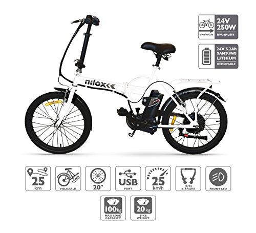 Nilox Doc X1, Bicicletta Elettrica, E-bike, Bicicletta Pieghevole con Pedalata Assistita, Ruota...