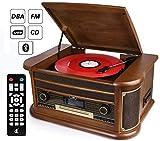 D&L 7-en-1 Dab Plaque tournante en Bois Vintage avec Bluetooth, Radio FM,...