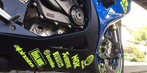 ! Motorrad Bauch Pfanne Sponsor Grafiken Aufkleber X 14Fluoreszierend Gelb 1