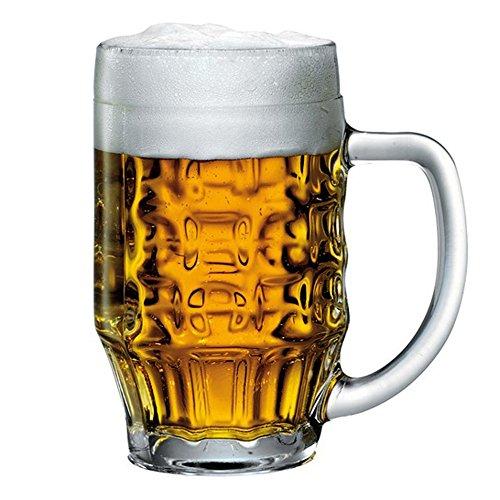 Bormioli Rocco, boccale da birra, 600ml, bicchiere di vetro con fossette e righe, 0,5 L , Quantity of Glasses:1