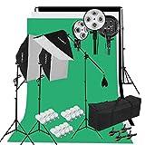 CRAPHY 2000W Estudio de Fotografía Softbox Kit de Iluminación Continua con Soporte de Fondo, Fondo (Verde, Blanco, Negro), 45w Lámpara, Soporte de Luz, Kit de Soporte y Bolsa Portátil EU Plug …