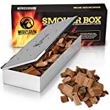 Grill Smoker Box for Wood Chips - Use a Gas or Charcoal BBQ and Still Get That Delicious Smoky Barbecue Flavored Grilled Meat - Non Warp Stainless Steel and Opens Easy with Hinged Lid