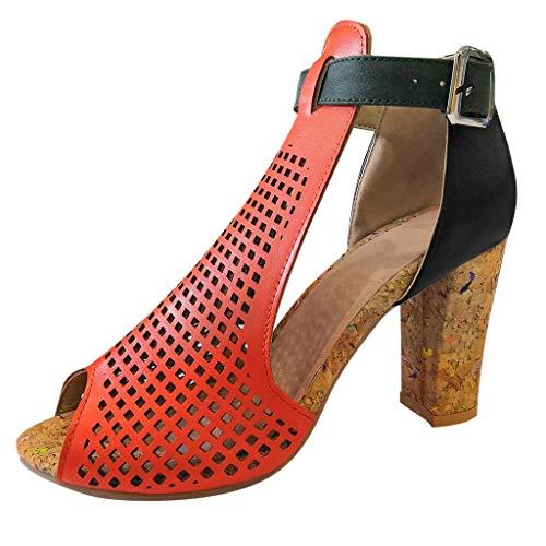 1753bfca6a Makefortune Blockabsatz Schuhe Damen Peep Toe Sandalen Plateau High Heel  9cm Frühling Sommer Damen Kleid Pumps