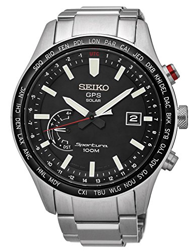 Seiko Herren Analog Solar Uhr mit Edelstahl Armband SSF003J1