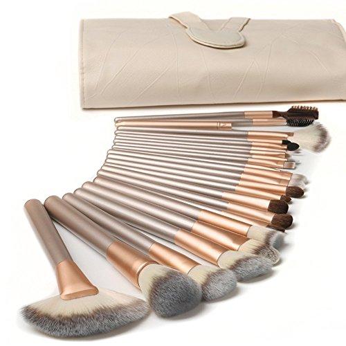 Nestling® 18 Stück professionelle Kosmetik Make-up Pinsel Werkzeuge Kosmetik Make-up-Pinsel-Set mit Roll up PU-Leder Tasche, Holzgriff