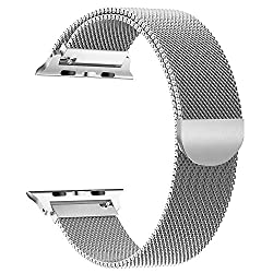 Kaufen Tervoka Apple Watch Armband 42mm (44mm Series 4), Milanese Schlaufe Edelstahl Smart Watch Armbänder mit einzigartiger Magnetverriegelung für Apple Watch Armband 42mm 44mm Series 4/3/2/1, Silber
