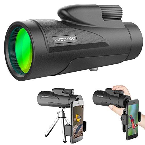 [Upgrade Version] 10X50 Monokular Teleskop, BUDDYGO HD Monokular mit mobilem Adapter & Stativ, Wasserdicht & Stoßfest, optimal geeignet für Camping, Vogelbeobachtung, Reisen,Tiere & auch für die Jagd