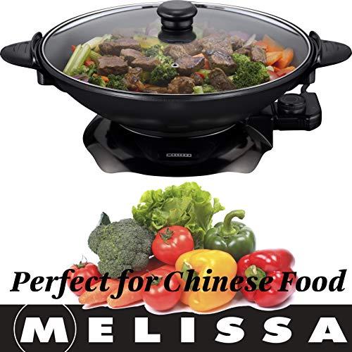 Melissa 16310207 Elektrowok: Elektrischer Wok mit Thermostat, antihaftbeschichtet, 1.500 Watt, 4,5 Liter (Elektropfanne), glass