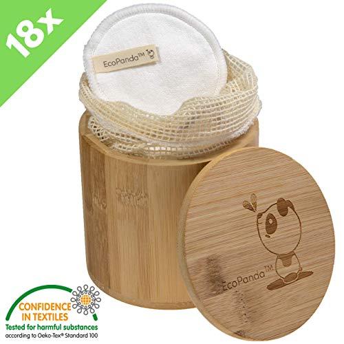 Waschbare umweltfreundliche Bambus & Baumwolle Abschminkpads von EcoPanda  18 Kosmetik-Pads wiederverwendbar und nachhaltig  ink Bambuskörbchen und Wäschesack