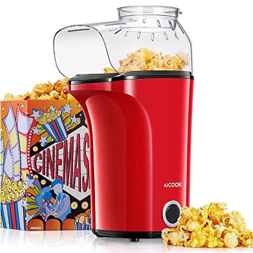 Aicook Popcornmaschine, 1400W Automatische Popcorn Maker mit Großer Kapazität, Heißluft Ohne Öl,...