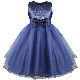 Robe bleu petite fille mariage avec paillettes et noeud