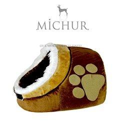 katzeninfo24.de MICHUR LEO, Katzenhöhle, Katzenkissen, Hundehöhle, Hundekissen, Hundebett, Katzenbett, SOFT, BRAUN/BEIGE, in verschiedenen Größen erhältlich
