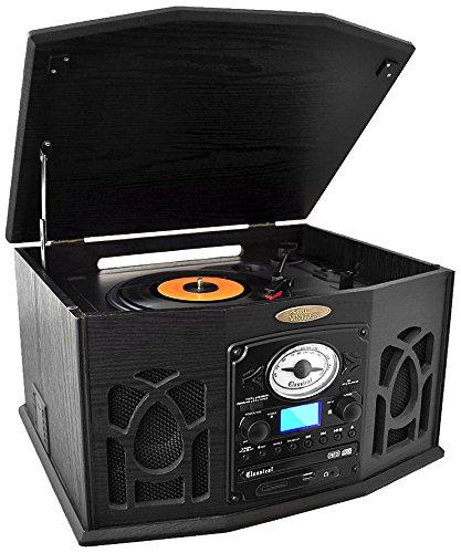 Pyle PTCDS7UBTB Bluetooth Turntable, Retro Vintage Classic Style Vinyl Record Player with Vinyl-to-MP3 Recording, CD Player, AM/FM Radio USB MP3 Player (Black)