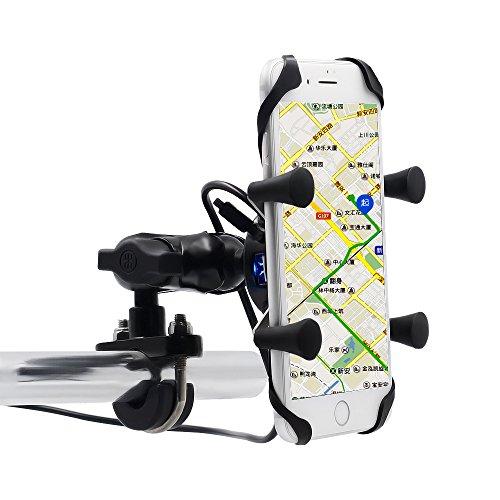TurnRaise Universal drehbare Motorrad Halterung Motorrad Handy-Halter mit USB-Ladegerät (CSK27N)