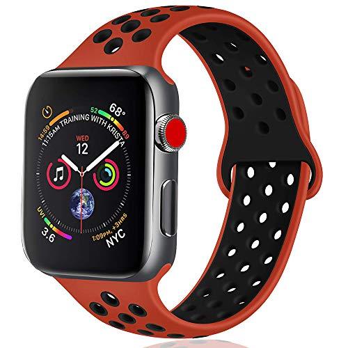 KESV Cinturino Compatibile con Apple Watch 38mm 42mm 40mm 44mm, Due Colori Morbido Silicone Traspirante Cinturini Sportiva di Ricambio per Apple Watch Series 4/3/2/1, 22 Colori