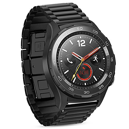 iBazal Cinturino Huawei Watch 2 Metallo Cinturini Acciaio Compatibile con Galaxy Watch 42mm/Active/Gear S2 Classic/Gear Sport/Ticwatch 2/E/Vivoactive 3/Vivomove HR(Orologio Non Incluso)- Classico Nero