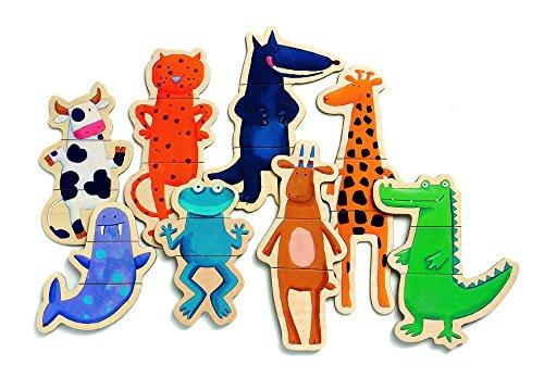 Djeco DJ03111 - Gli animali pazzi, Puzzle di legno