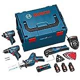 Bosch 0615990GB Werkzeugset 10.8V GSR + GDR + GOP + GSA + GLI 10.8V Li, mit L-BOXX, 3Akkus, und Zubehör