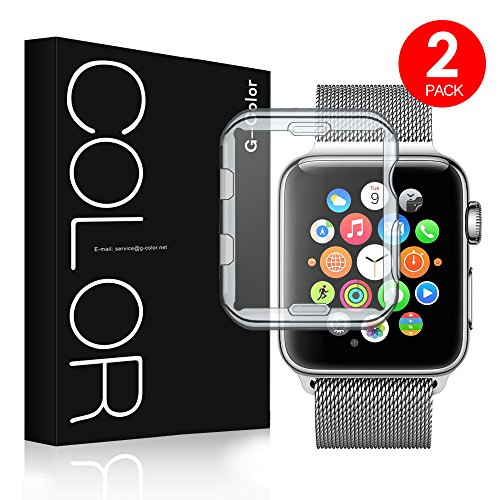 G-Color Apple Watch 42mm Funda/Protector de Pantalla, [2 Unidades], Ultra Transparente, TPU, Serie 1 2 3, Protector Pantalla para Apple Watch 42mm Hermès/Nike+ Edition
