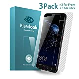 Huawei P10 Screen Protector, Klearlook® [3 Piece in Pack - 2-Piece Crystal Clear Tempered Glass, Anti-Scratches/9H Hardness/Bubble-Free Glass Screen Protector for Front + 1-Piece Full Coverage Carbon Fibre Sticker Protector for Back] for Huawei P10 [Lifetime Warranty]