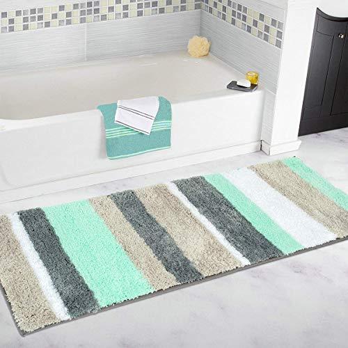 Pauwer - Tappeto antiscivolo e anti muffa per bagno e doccia, lavabile in lavatrice, Green, 45x120cm