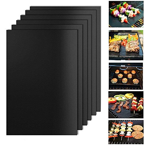 Hebey BBQ Grill Mat Set di 6 antiaderenti e resistenti al calore Grill e teglie da forno usate in...