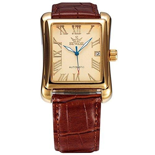 SEWOR Uomo Scheletro Automatico Orologio Con Calendario Famous Brand Pelle Marrone Cinturini orologi...