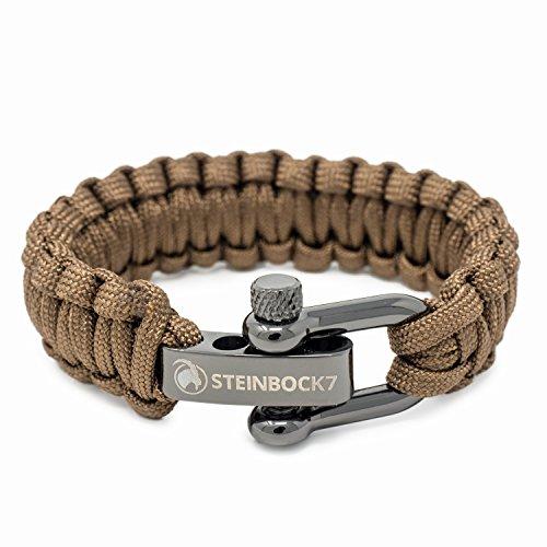 Steinbock7Pulsera de cuerda de supervivencia Paracord, Acero inoxidable, Cierre ajustable, incluye instrucciones para trenzado [pueden no estar en español], marrón, 23 cm