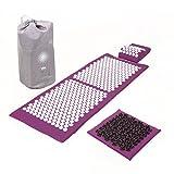 Akupressur-Set Deluxe XL soft, Aubergine: Akupressurmatte (130 x 50 cm) Akupressur-Fußmatte und -Kissen im günstigen Set, Entspannungsmatte, Fußreflexzonen-Massage
