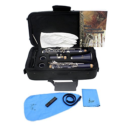 ammoon Klarinette mit 17 Klappen, flach, ABS bB-Klarinette (Sopran-Fernglas mit Kork-Fett Reinigungstuch 10 Stück, Blätter-Blätter (für Holzblasinstrument) dunkelblau